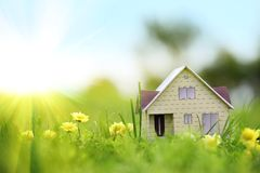 Model of a house on green grass Stock Photo