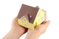 Model house in hand Royalty Free Stock Photography