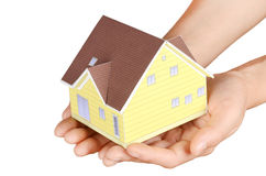Model house in hand Royalty Free Stock Photo