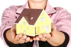 Model house in hand Royalty Free Stock Image