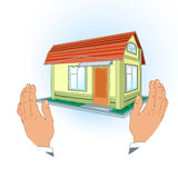 Model  the house in the hands Stock Photos