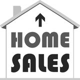 Model house icon with home sales text Stock Photo