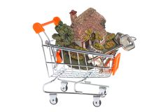 Model of house with keys in the shopping cart isolated on white Stock Photo