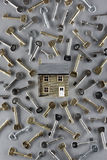 Model house and large group of keys Stock Photos