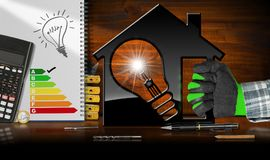 Model House and Light Bulb - Energy Efficiency. Energy Efficiency - Hand with work glove holding a model house 3D illustration with energy efficiency rating and Royalty Free Stock Image