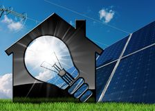 Model House with Light Bulb and Solar Panels. 3D illustration of a model house with a light bulb, solar panels and a power line on a blue sky with clouds Royalty Free Stock Images
