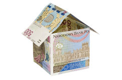 Model house made from 500 pln banknotes Royalty Free Stock Photography