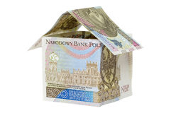 Model house made from 500 pln banknotes Royalty Free Stock Photos