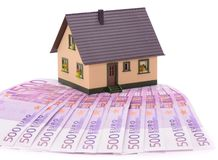Model house on many Euro banknotes. Model house on many 500 Euro banknotes Royalty Free Stock Photography