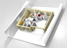 Model of house on a piece of paper. 3D Model of house on a piece of paper Stock Photos