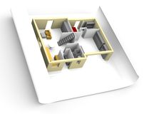Model of house on a piece of paper. 3D Model of house on a piece of paper Royalty Free Stock Image