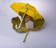 Model house placed on an Autumn leaf and under an umbrella Stock Image