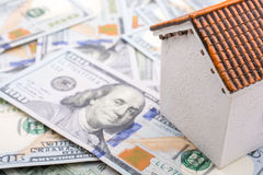 Model house is placed  on the  US dollar banknotes Royalty Free Stock Images