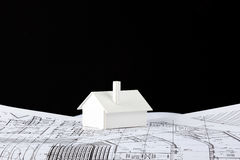 Model house on prints Royalty Free Stock Photography