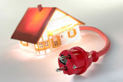 Model house with red plug Royalty Free Stock Photography