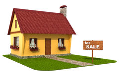 Model house. For sale signboard. Stock Image