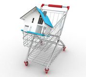Model house in shopping cart Stock Images