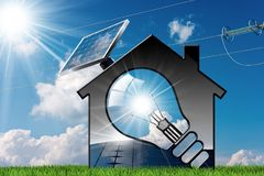 Model House with Solar Panel and Light Bulb. 3D illustration of a model house with a light bulb, solar panel and power line on a blue sky with clouds and sun Royalty Free Stock Photography