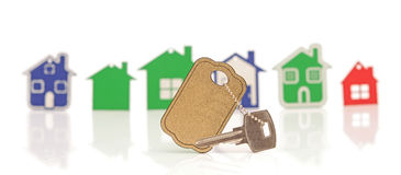 Model house symbol set. And key with blank label Stock Photography