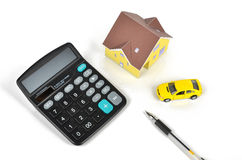 Model house and toy car Royalty Free Stock Photography