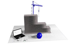 Model house under construction, computer, helmet, 3D visualization Stock Images