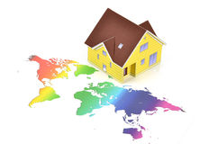 Model house and world map Stock Image