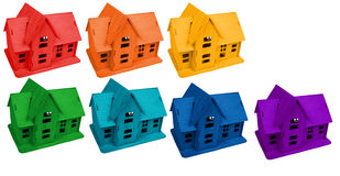 Model of houses in colors of rainbow, collage. Model of houses in colors of rainbow on white, collage royalty free illustration