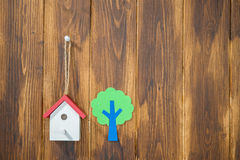 Model houses and tree, home environment Royalty Free Stock Photo
