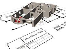 Model huis op floorplan Stock Foto's