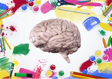 Model of human brain with color pencils and paints on white background. Digital composition of model of human brain with color pencils and paints on white royalty free stock photos