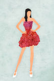 Model illustration. Illustration of a model wearing a red dress Stock Image
