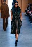 Model Imaan Hammam walk the runway at the Derek Lam Fashion Show during MBFW Fall 2015 Royalty Free Stock Image