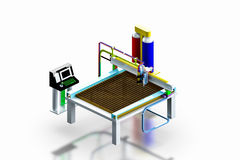 Model industrial plasma cutter machine, 3D render. Royalty Free Stock Photos