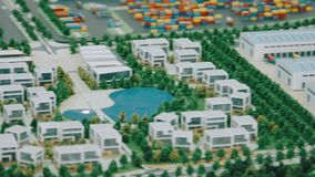 Model of industrial zone with commercial real estate and residential area