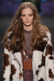 Model Ine Neefs walks the runway at the Anna Sui fashion show during MBFW Fall 2015 Royalty Free Stock Images