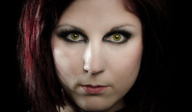 Model with intense green eyes Royalty Free Stock Photography