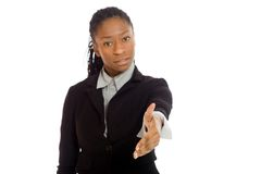 Model isolated with hand shake Stock Image