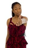Model isolated with hand shake Royalty Free Stock Image