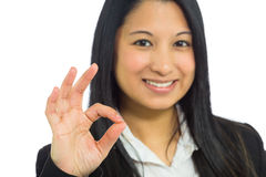 Model isolated ok sign Stock Photography