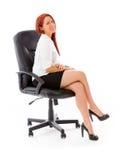 Model isolated on plain background back turning Royalty Free Stock Photography