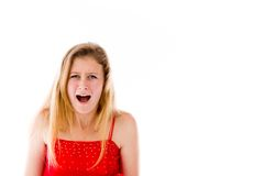 Model isolated on plain background furious Stock Photography