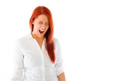 Model isolated on plain background furious Royalty Free Stock Images