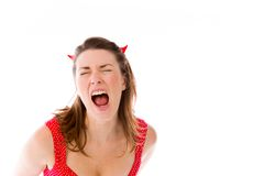Model isolated on plain background furious Stock Images