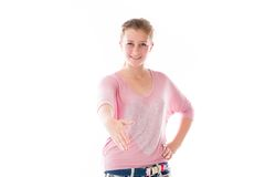 Model isolated on plain background greetings hand Stock Photo