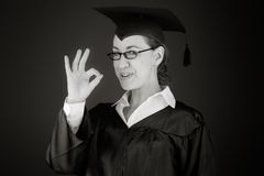 Model isolated on plain background hand gesture ok Stock Image