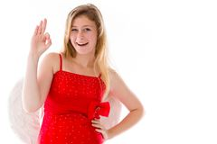 Model isolated on plain background hand gesture ok Royalty Free Stock Photography