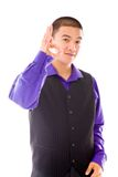 Model isolated on plain background hand gesture ok Stock Images