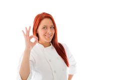 Model isolated on plain background hand gesture ok Royalty Free Stock Photos