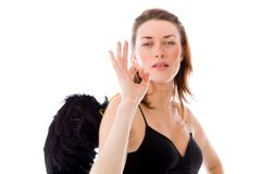 Model isolated on plain background hand gesture ok Royalty Free Stock Images