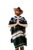 Model isolated on plain background praying wishing Royalty Free Stock Photo